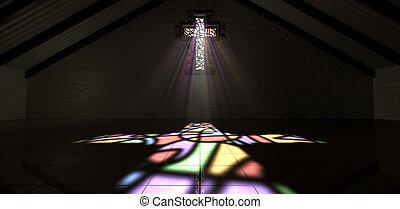 szín, fény, pecsétes pohár ablak, feszület, fénysugár