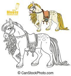 szín, fehér, körvonalazott, csinos, arany-, sörény, nyereg, könyv, harnessed, film, színezés, háttér, ló