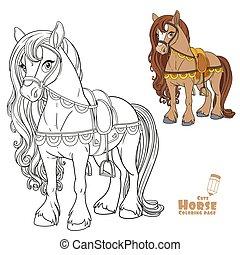 szín, fehér, körvonalazott, csinos, nyereg, könyv, film, harnessed, színezés, háttér, ló