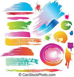 szín, festék, egyenes, söpör, loccsan
