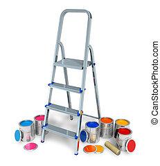 szín, festék, stepladder, konzervál