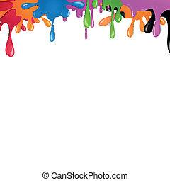 szín, festék, vektor, loccsan