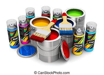 szín, fest, gally, ecsetek, konzervál, festék