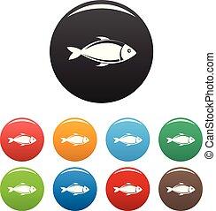 szín, fish, állhatatos, vektor, ikonok