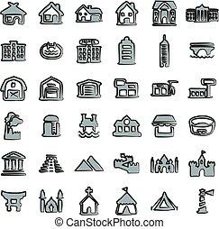 szín, freehand, épületek, 2, ikonok