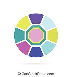 szín, gyémánt, vektor, ábra