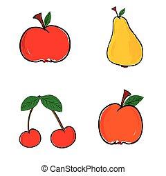 szín, gyümölcs, vektor, ábra