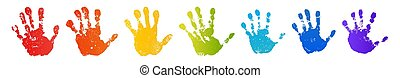 szín, gyermek, elszigetelt, fényes, emberi, palm., design., szivárvány, prints., festék, handprint., ujjak, kreatív, háttér., nyomtat, fehér, boldog, ábra, kéz, kézbesít, gyerekek, bélyeg, vektor, művészi, gyermekkor