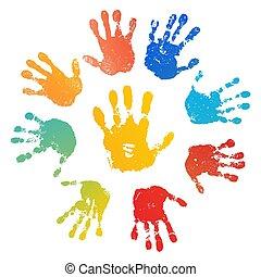 szín, gyermek, fényes, emberi, palm., design., szivárvány, prints., festék, handprint., elszigetelt, kreatív, háttér., nyomtat, fehér, boldog, ábra, kéz, nap, kézbesít, ujjak, gyerekek, bélyeg, vektor, művészi, gyermekkor