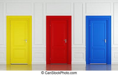 szín, három, ajtók