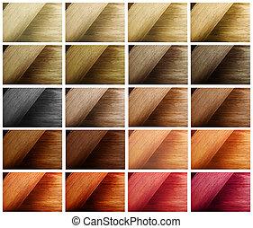 szín, haj, multi-, minta, swatches