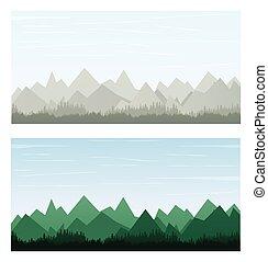 szín, hegy, zöld, transzparens, szürke