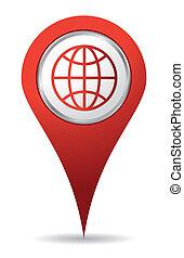 szín, ikon, elhelyezés, világ, piros