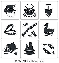 szín, ikon, gyűjtés, vadászat, halászat