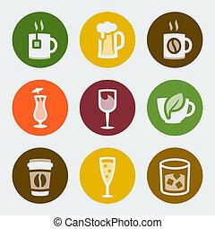 szín, iszik, vektor, állhatatos, ikonok