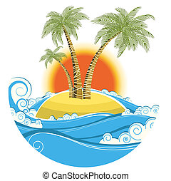 szín, jelkép, tropikus, nap háttér, elszigetelt, island., vektor, kilátás a tengerre, fehér