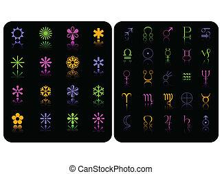 szín, jelkép, vektor, állhatatos