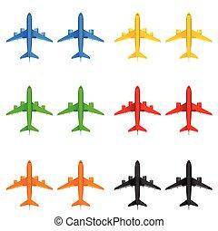 szín, különböző, vektor, repülőgép, ábra
