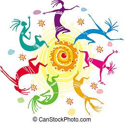 szín, karika, számolás, tánc