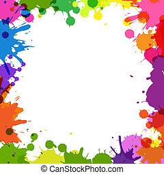 szín, keret, festékfoltok