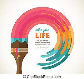 szín, kreatív, fogalom, gondolat, tervezés