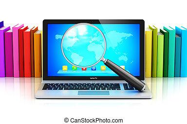 szín, laptop, pohár, előjegyez, elülső, magasztalás, evez