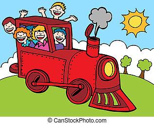 szín, lovagol, kiképez, liget, karikatúra