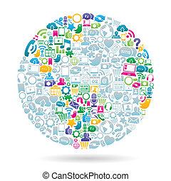 szín, média, társadalmi, világ