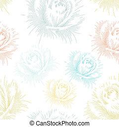 szín, motívum, seamless, kéz, agancsrózsák, rajz