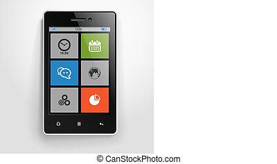 szín, mozgatható, modern, határfelület, telefon