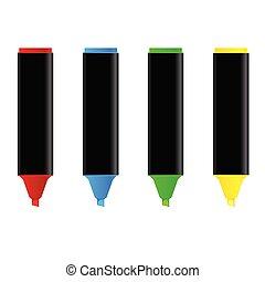 szín, négy, vektor, ábra, highlighters