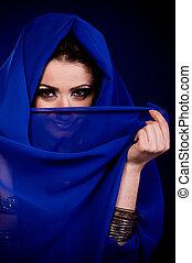 szín, nő, arab, öltözék