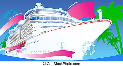 szín, nagy, cirkálás, boat., fényűzés