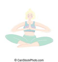 szín, pasztell, vektor, fiatal, gyakorló, nő, yoga.