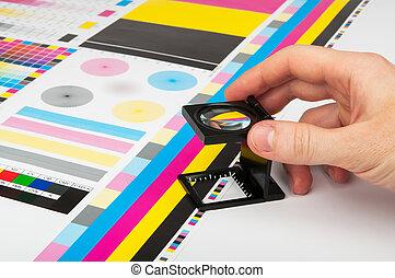 szín, prepress, vezetőség, nyomtat, termelés
