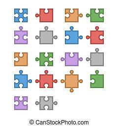 szín, rejtvény, lombfűrész, alkatrészek, vektor, constructor., tiszta, összes, set.