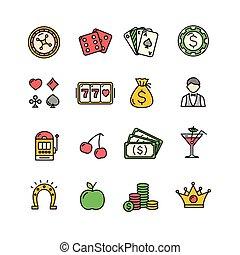 szín, set., kaszinó, vektor, ikon