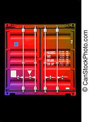 szín, sokszínű, 01, konténer