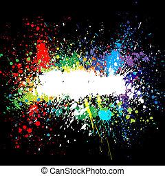 szín, splashes., gradiens, háttér, vektor, festék