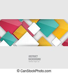 szín, squares., vektor, elvont, háttér