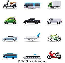szín, -, szállítás, ikonok