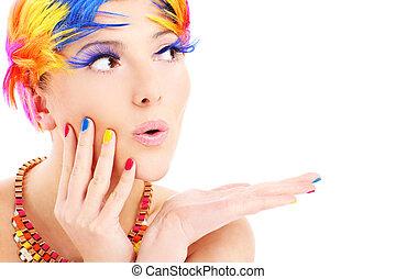 szín, szőr, woman arc