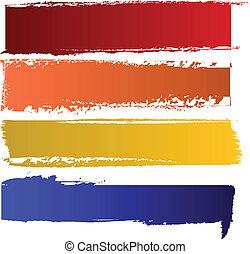 szín, szalagcímek, vektor, állhatatos
