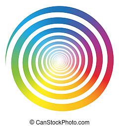 szín, szivárvány, fehér, gradiens, spirál