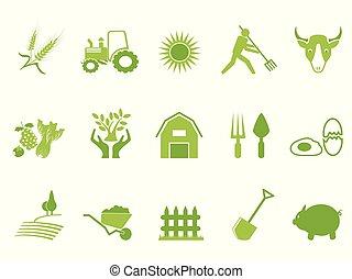 szín, tanya, állhatatos, zöld, ikon
