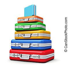 szín, utazás, csomagol, kazal