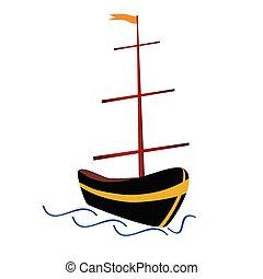 szín, vektor, csónakázik, ábra