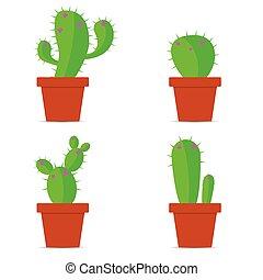 szín, vektor, cserépáru, kaktusz, ábra