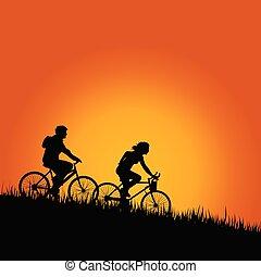 szín, vektor, kerékpárosok, ábra, természet