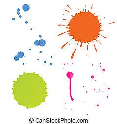 szín, vektor, loccsan, háttér